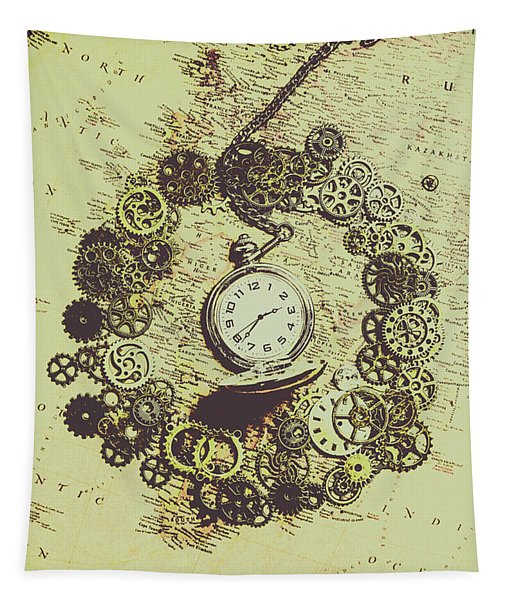 Steampunk Travel Map Tapestry