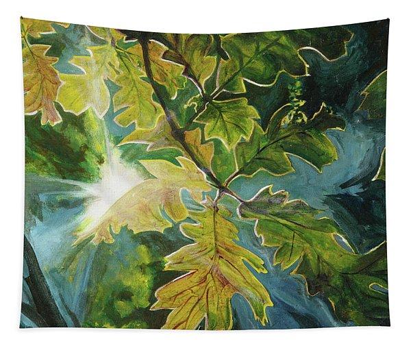 Sun Through Oak Leaves Tapestry