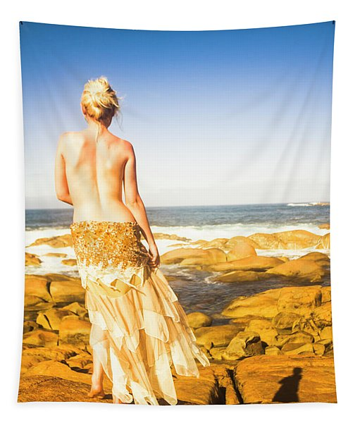 Sunbathing By The Sea Tapestry