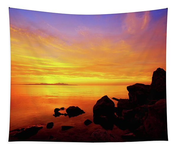 Sunset And Fire Tapestry