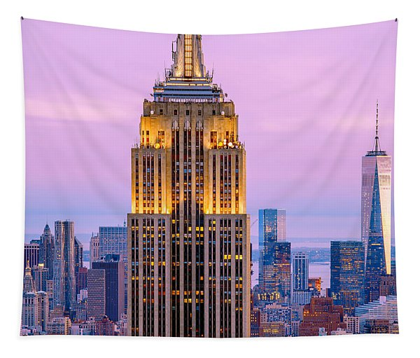 Sunset Skyscrapers Tapestry