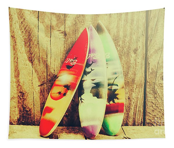 Surfing Still Life Artwork Tapestry