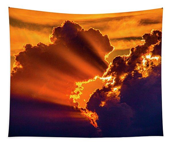 Tapestry featuring the photograph Sweet Nebraska Crepuscular Rays 010 by NebraskaSC