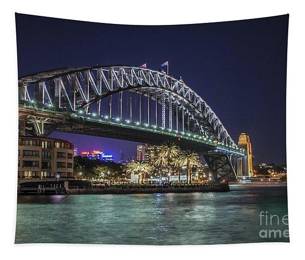 Sydney Harbor Bridge At Night Tapestry