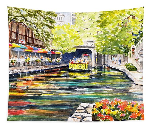 Texas San Antonio River Walk Tapestry
