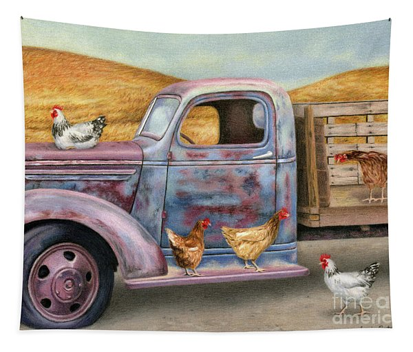 Where The Hens Gather  Tapestry