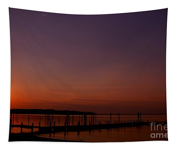 The Sun Sets Over The Water Tapestry