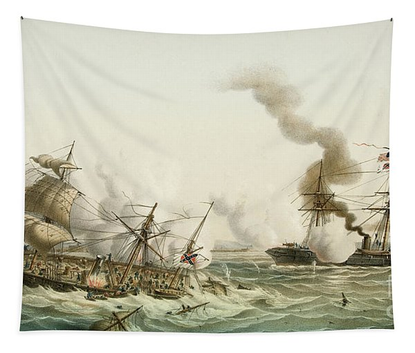 The Uss Kearsage Of The Union Navy Sinks The Confederate Raider Css Alabama Tapestry