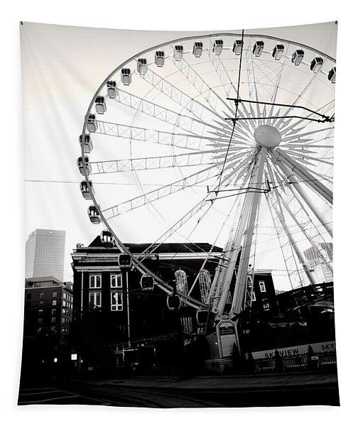 The Wheel Black And White Tapestry
