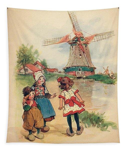 The Windmill And The Little Wooden Shoes Tapestry