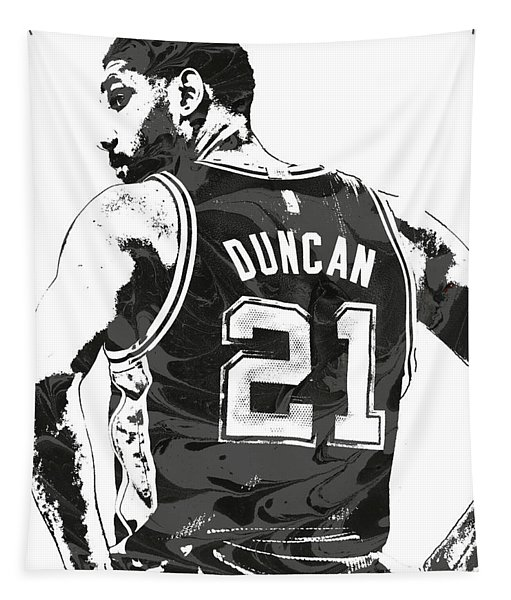 Tim Duncan San Antonio Spurs Pixel Art 2 Tapestry