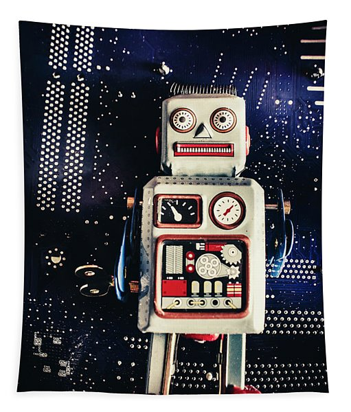 Tin Toy Robots Tapestry