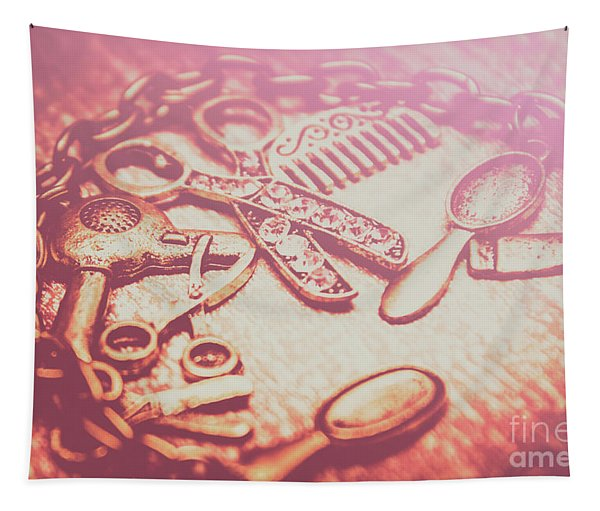 Toned Image Hair Styling Toys Surrounded By Chain On Table Tapestry
