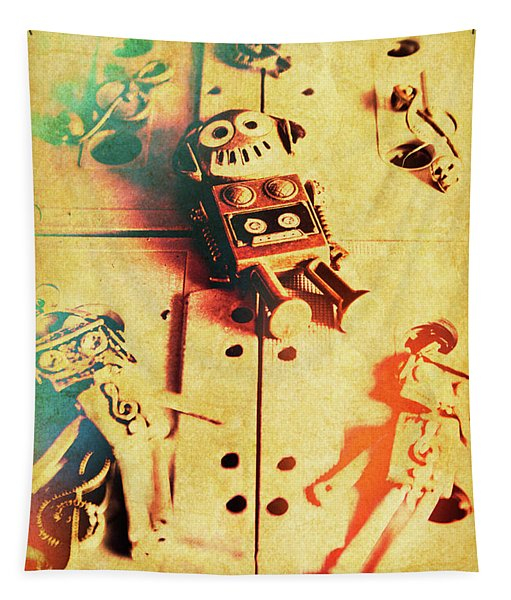 Toy Robots On Vintage Cassettes Tapestry