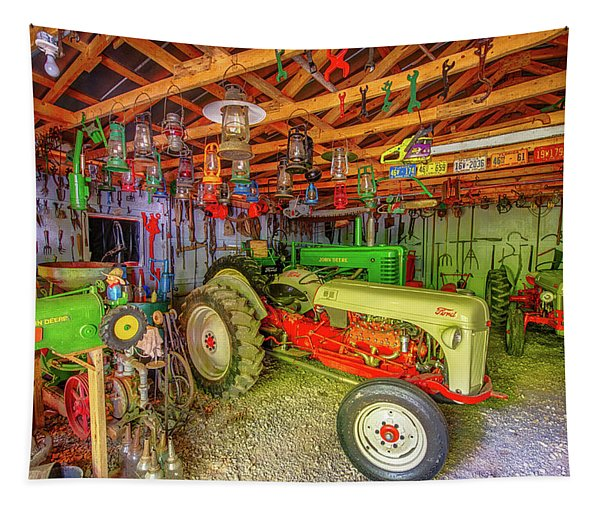 Tractor Garage Tapestry