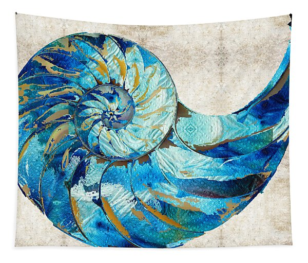 Tropical Blue Art - Nautilus Shell Bleu 2 - Sharon Cummings Tapestry
