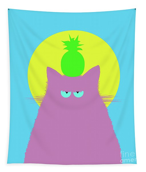 Tropical Lilac Cat Tapestry