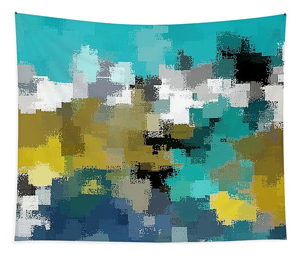 Turquoise And Gold Tapestry