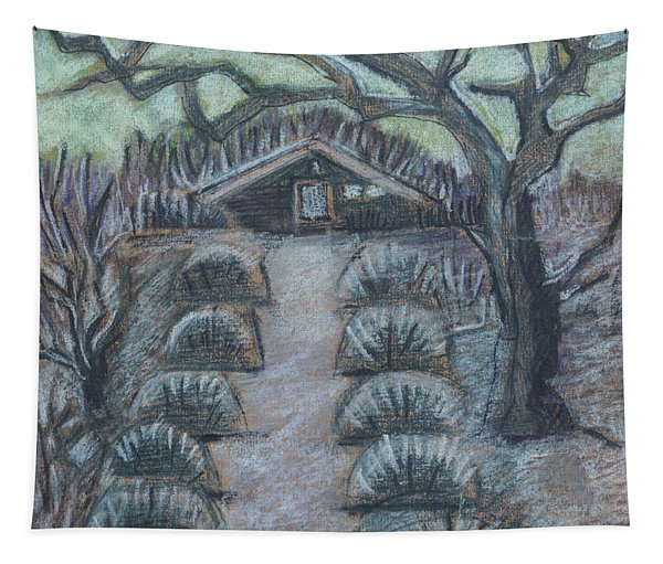Twilight In Garden, Illustration Tapestry