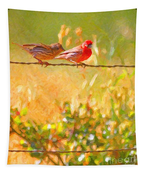 Two Birds On A Wire Tapestry