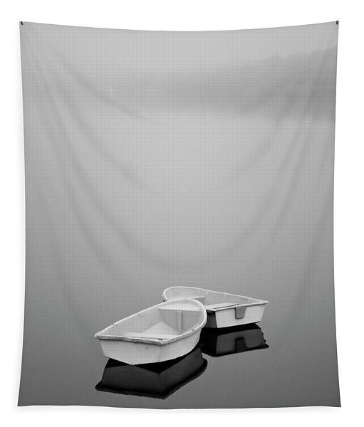 Two Boats And Fog Tapestry