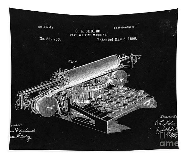 Type Writing Machine Patent From 1896  - Black Tapestry