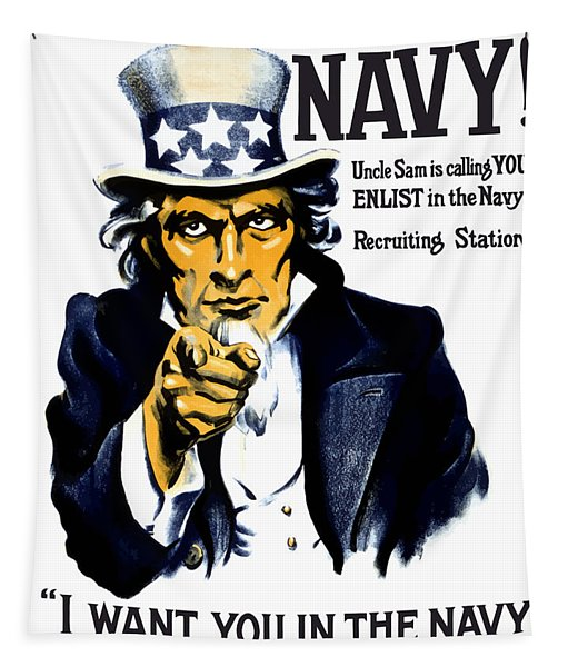 Uncle Sam Wants You In The Navy Tapestry
