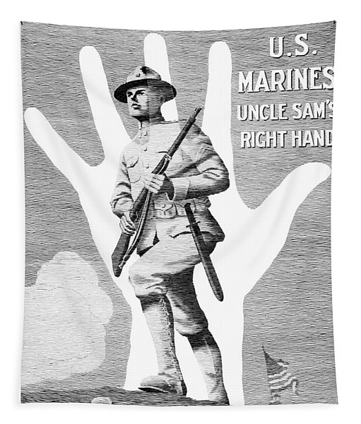 Uncle Sam's Right Hand - Us Marines Tapestry