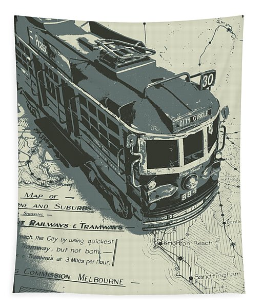 Urban Trams And Old Maps Tapestry