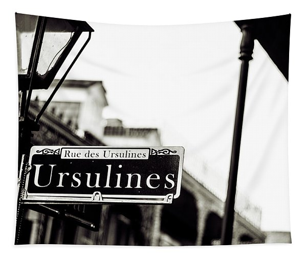 Ursulines In Monotone, New Orleans, Louisiana Tapestry
