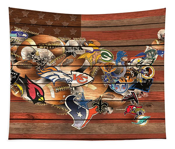 Usa Nfl Map Collage 6 Tapestry