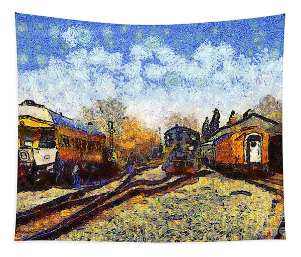 Van Gogh.s Train Station 7d11513 Tapestry