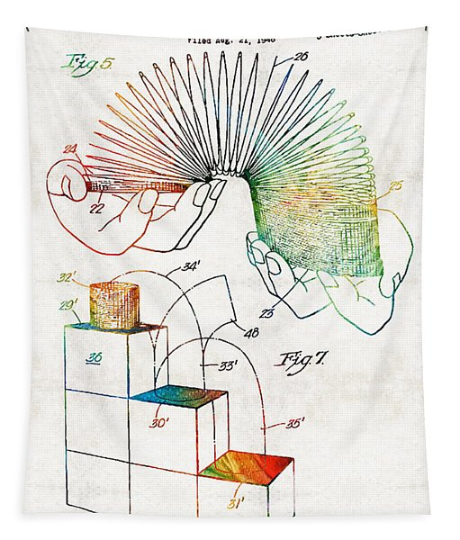 Vintage Toy Patent - Slinky - Sharon Cummings Tapestry