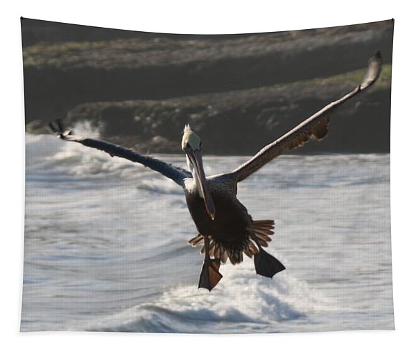 Tapestry featuring the photograph Wacky Pelican In Flight by Christy Pooschke