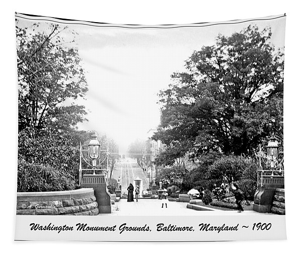 Washington Monument Grounds Baltimore 1900 Vintage Photograph Tapestry