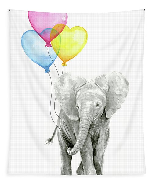 Watercolor Elephant With Heart Shaped Balloons Tapestry