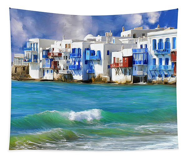 Waterfront At Mykonos Tapestry