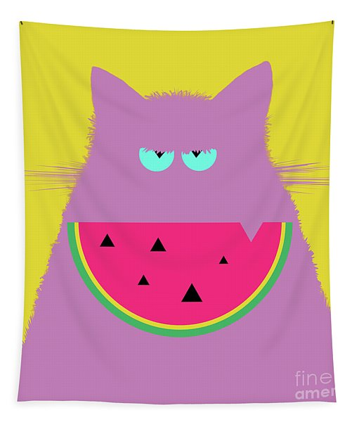 Watermelon Lilac Cat Tapestry