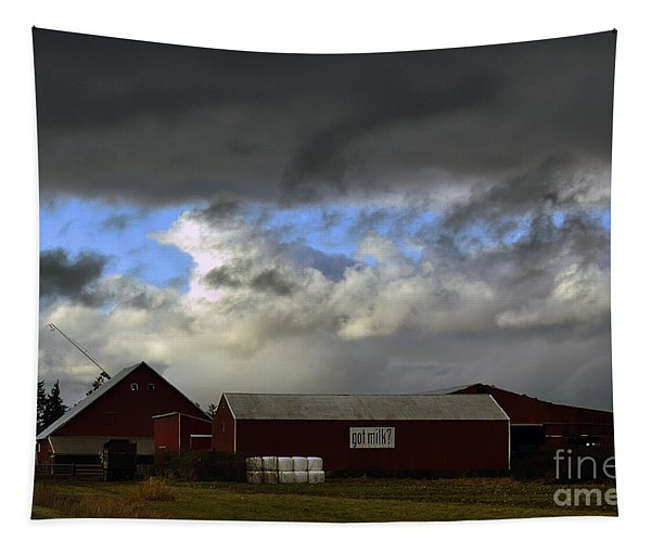Weather Threatening The Farm Tapestry