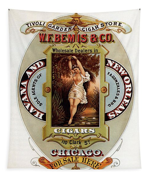 W.f.bemis And Co - Tivoli Garden Cigar Store - Vintage Advertising Poster Tapestry