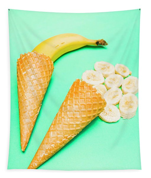 Whole Bannana And Slices Placed In Ice Cream Cone Tapestry