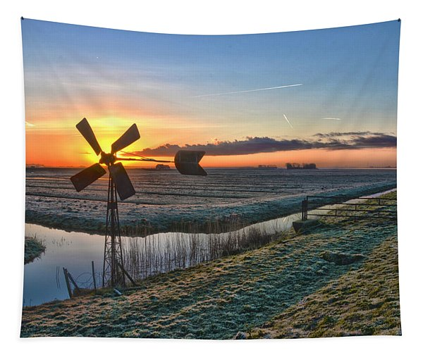 Windmill At Sunrise Tapestry