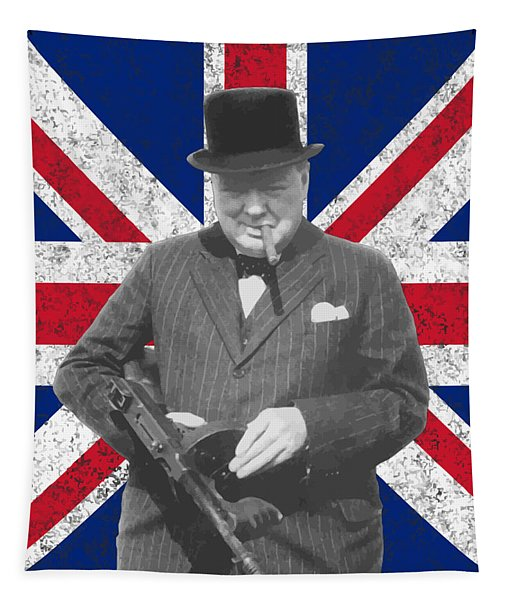 Winston Churchill And His Flag Tapestry