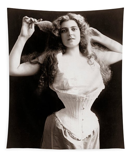 Woman Wearing Corset Tapestry