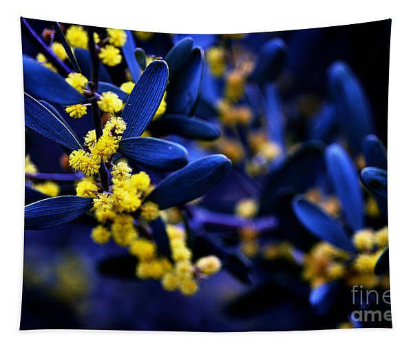 Yellow Bursts In Blue Field Tapestry