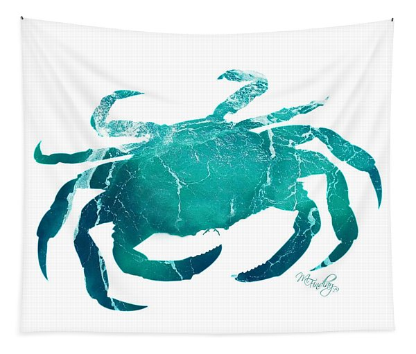 Art Sea Crab In Turquoise Tapestry