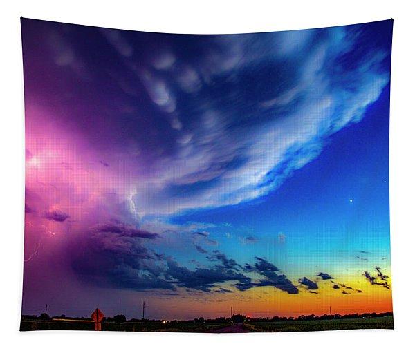 Tapestry featuring the photograph Epic Nebraska Lightning 007 by NebraskaSC
