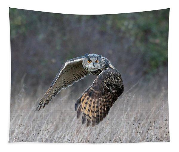 Eurasian Eagle Owl Flying Tapestry