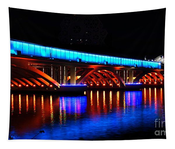 Evening View Of The Love River And Illuminated Bridge Tapestry