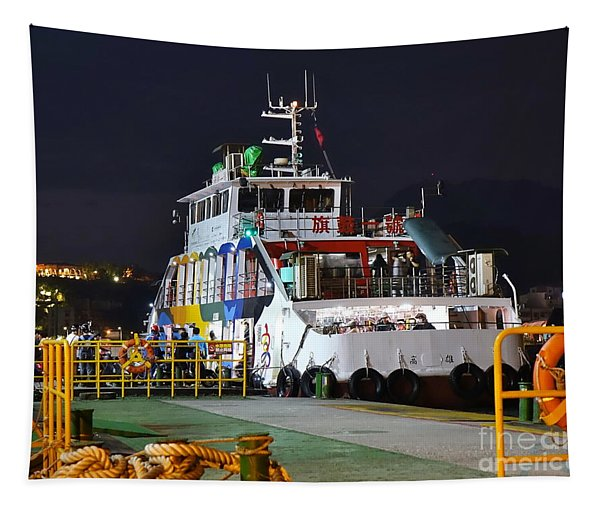 Ferry Boat At Night In Kaohsiung Port Tapestry